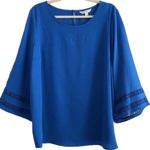 New Counterparts Lace Bell Sleeve Crepe Blouse XL